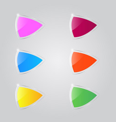 set of colored shiny glass banners on a gray vector image