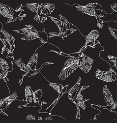 Single line bird drawings seamless pattern vector