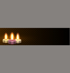 site header with candles realistic light web vector image