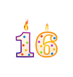 sixteen years anniversary 16 number shaped vector image