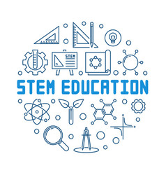stem education blue outline round vector image