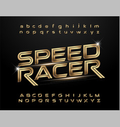 technology alphabet golden metallic and effect vector image