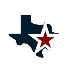 Texas map with star in blue and red flags color vector