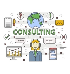Thin line flat design Consulting concept vector