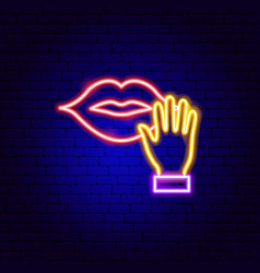 Touch mouth neon sign vector