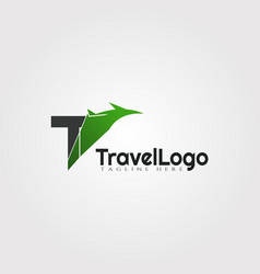 Travel agent logo design with initials t letter vector