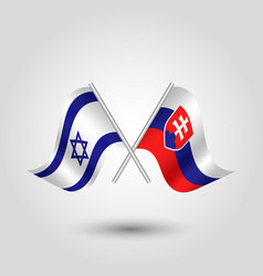 Two crossed israeli and slovak flags vector