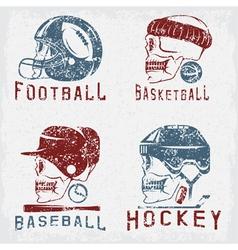 Vintage sport grunge labels set with skulls vector