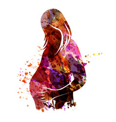 Watercolor silhouette of a pregnant woman vector