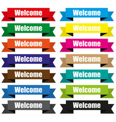 Welcome on colored ribbons origami vector