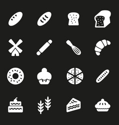 White bakery icons set vector