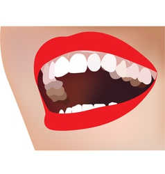 white teeth smile red lip vector image
