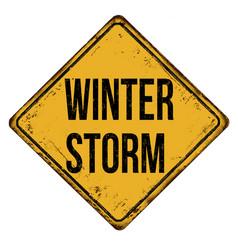 Winter storm vintage rusty metal sign vector