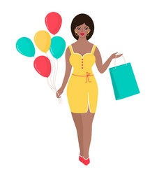 Woman with balloons and gift bag vector