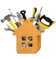 wooden house with tools vector image