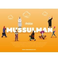 Arabian mussulman banner with people vector