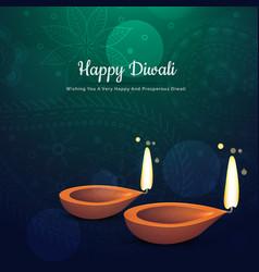 beautiful diwali festival diya background with vector image vector image