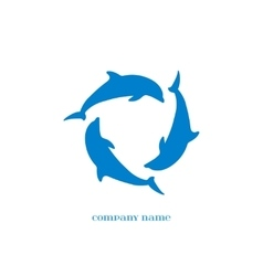 Blue Dolphins Silhouettes over white vector image vector image