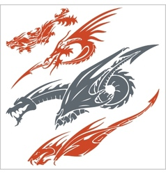Dragons for tattoo set vector image