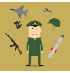 Army soldier and military objects vector image vector image