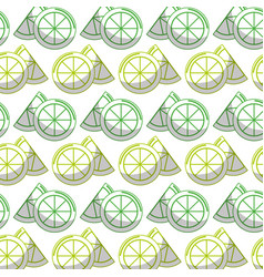Delicious lemon slice and piece fruit background vector