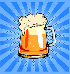 mug of beer pop art vector image vector image