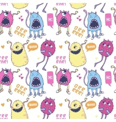 Pattern with cute monsters vector image