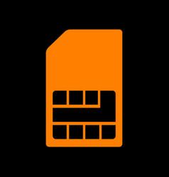 sim card sign orange icon on black background vector image