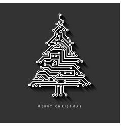 Christmas tree from digital electronic circuit vector