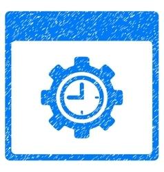 Clock configuration gear calendar page grainy vector
