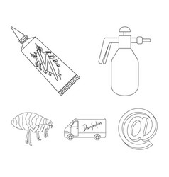 Flea special car and equipment outline icons in vector