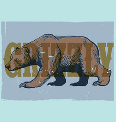 hand drawing style of vintage grizzly bear poster vector image vector image