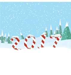 New Year 2017 in shape of candy stick in snow vector image vector image