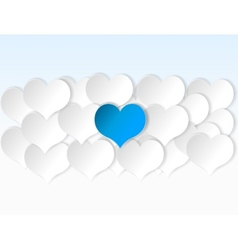 Paper hearts background with alone blue heart vector image vector image