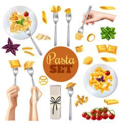 Pasta realistic set vector