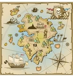 Pirate treasure island map vector image