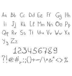 Scratched Handdrawn Alphabet vector image