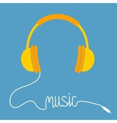 Yellow headphones with white cord in shape of word vector image vector image