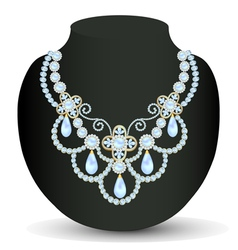 necklace women blue for marriage with pearls and p vector image