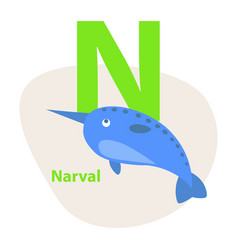 zoo abc letter with cute narwhal cartoon vector image