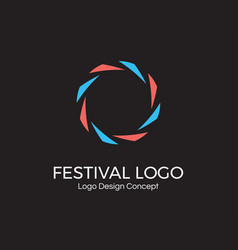 abstract circular dynamic logo round shape icon vector image