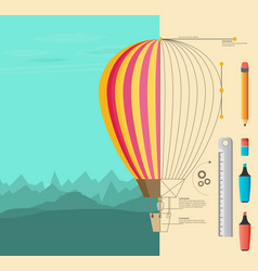 air balloon and draft background vector image