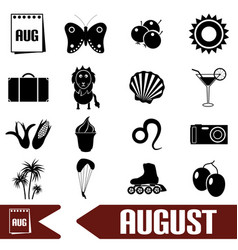 August month theme set of simple icons eps10 vector