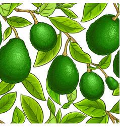avocado fruits pattern on white background vector image