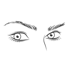Black and white girl face outline with blue eyes vector