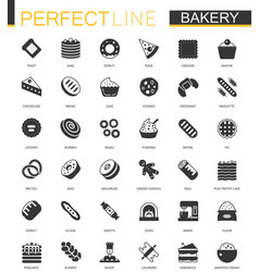 Black classic bakery pastry icons set vector