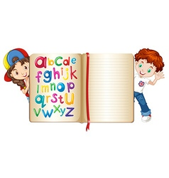 Boy and girl behind a book vector