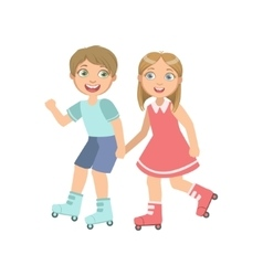 Boy And Girl Roller Skating Holding Hands vector