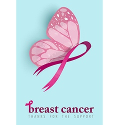Breast cancer awareness design of pink butterfly vector