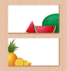 cards with watermelons and pineapples vector image